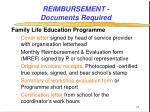 reimbursement documents required