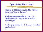 application evaluation
