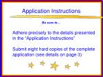 application instructions75