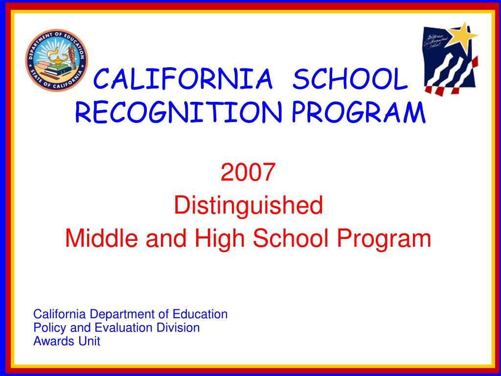 california school recognition program l.