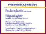 presentation contributors