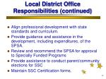 local district office responsibilities continued