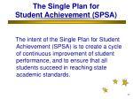 the single plan for student achievement spsa
