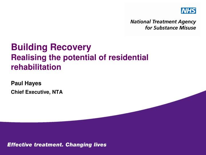 Building recovery realising the potential of residential rehabilitation