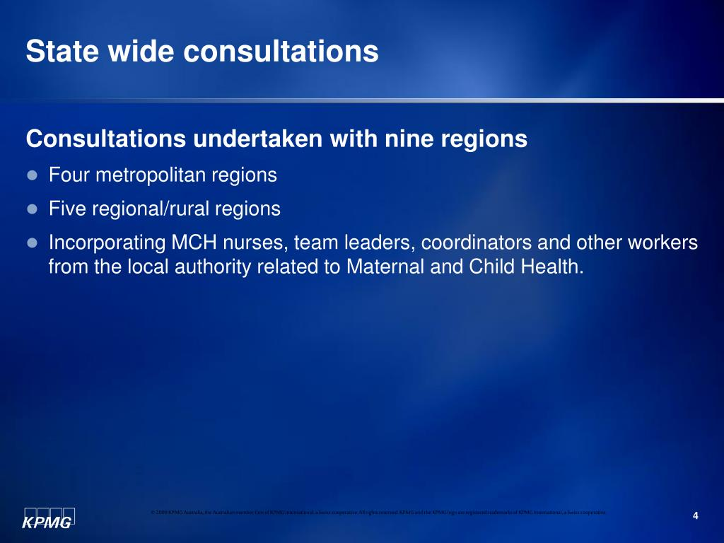 State wide consultations