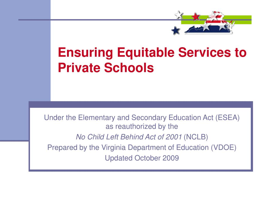 ensuring equitable services to private schools l.