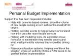 personal budget implementation