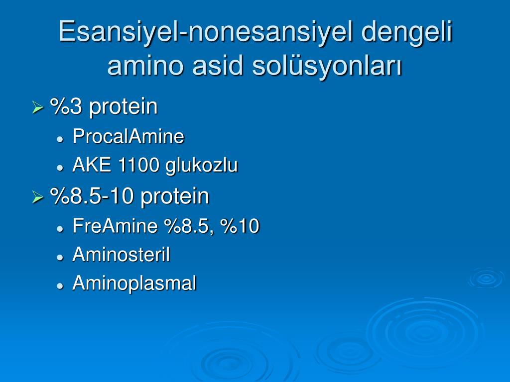 Esansiyel-nonesansiyel dengeli amino asid solüsyonları