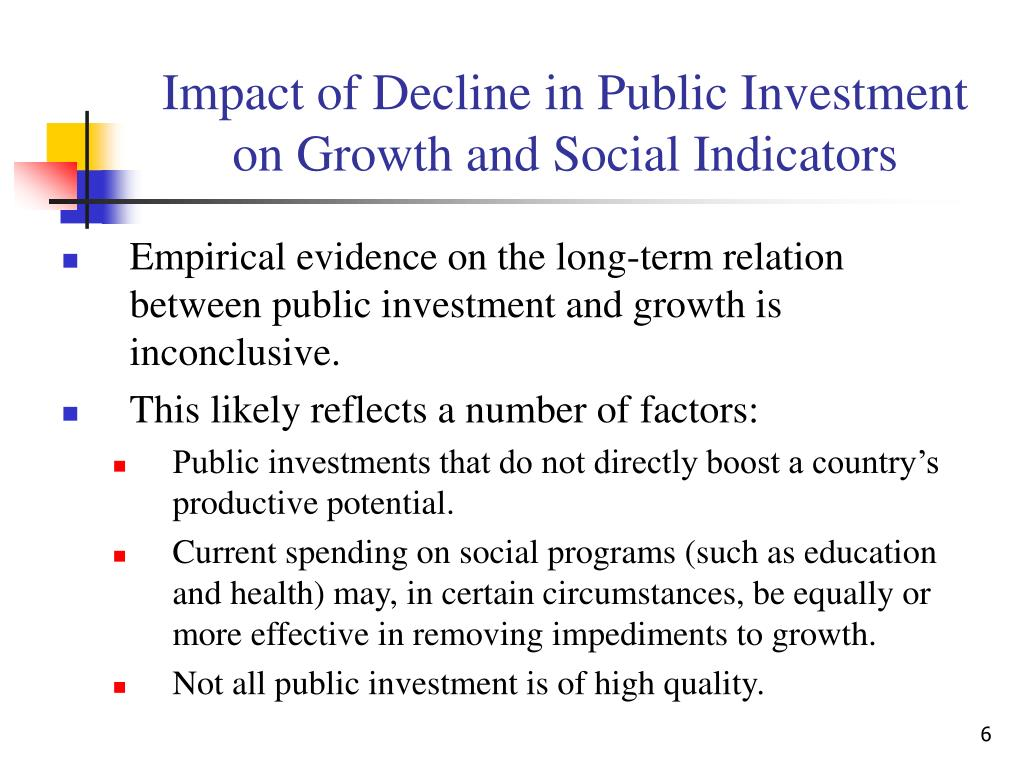 Impact of Decline in Public Investment on Growth and Social Indicators