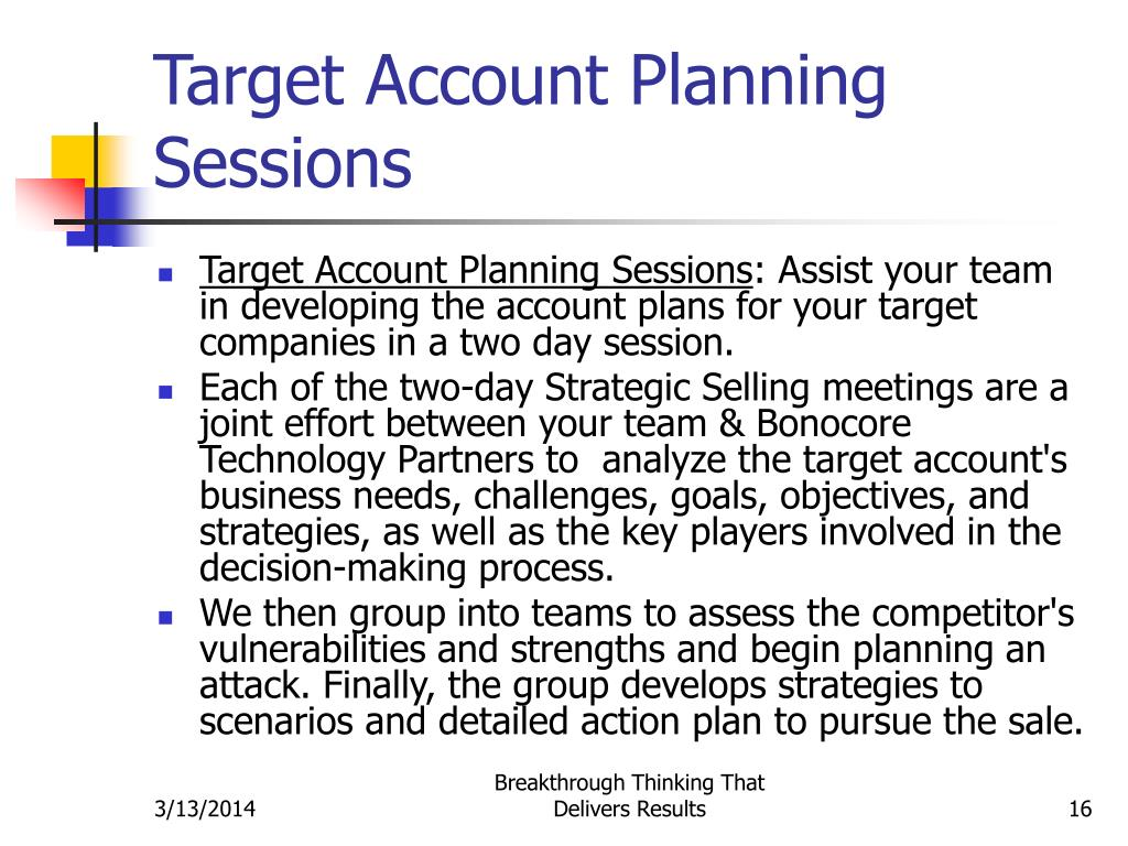Target Account Planning Sessions