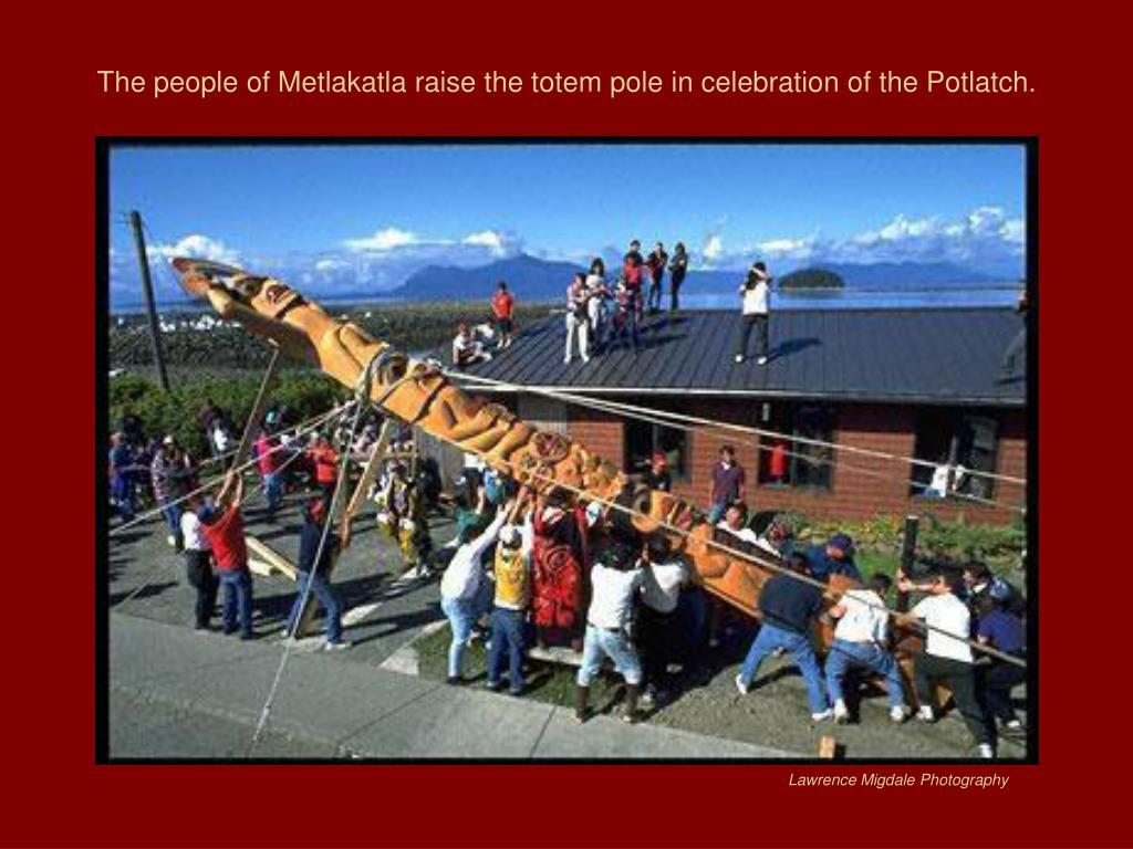 The people of Metlakatla raise the totem pole in celebration of the Potlatch.
