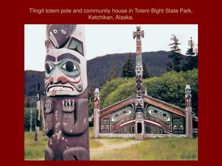 Tlingit totem pole and community house in totem bight state park ketchikan alaska