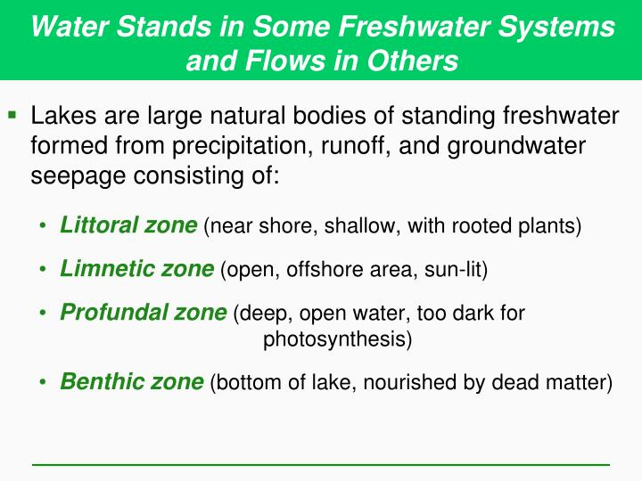 Water Stands in Some Freshwater Systems and Flows in Others