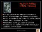 pause reflect critical thinking