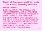 quality of reproductive child health care in india assessing the status14