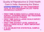quality of reproductive child health care in india assessing the status18
