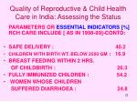 quality of reproductive child health care in india assessing the status22