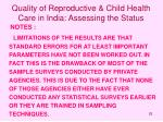 quality of reproductive child health care in india assessing the status25