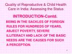 quality of reproductive child health care in india assessing the status4