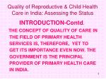 quality of reproductive child health care in india assessing the status5