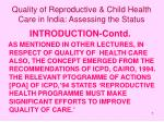 quality of reproductive child health care in india assessing the status7