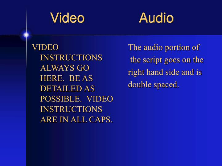 VIDEO INSTRUCTIONS ALWAYS GO HERE. BE AS DETAILED AS POSSIBLE. VIDEO INSTRUCTIONS ARE IN ALL CAPS.