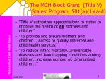 the mch block grant title v states program 501 a 1 a d