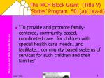 the mch block grant title v states program 501 a 1 a d9