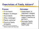 expectations of family advisors