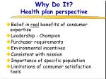 why do it health plan perspective