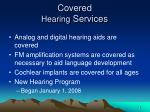 covered hearing services
