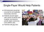 single payer would help patients