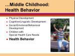 middle childhood health behavior
