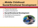 middle childhood social emotional development