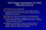 chi 2 scope implications for doh planning cont d