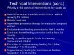 technical interventions cont priority child survival interventions for scale up