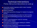 technical interventions priority child survival interventions for scale up