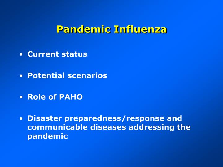 pandemic influenza n.