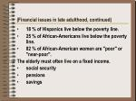 financial issues in late adulthood continued