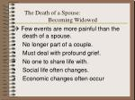 the death of a spouse becoming widowed