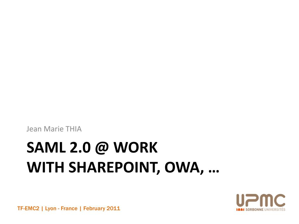 saml 2 0 @ work with sharepoint owa l.