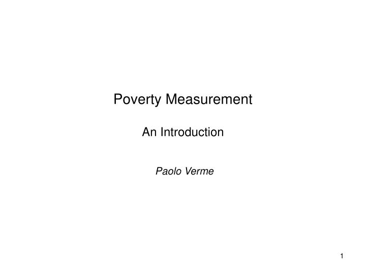 poverty measurement an introduction n.