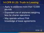 14 cfr 91 23 truth in leasing