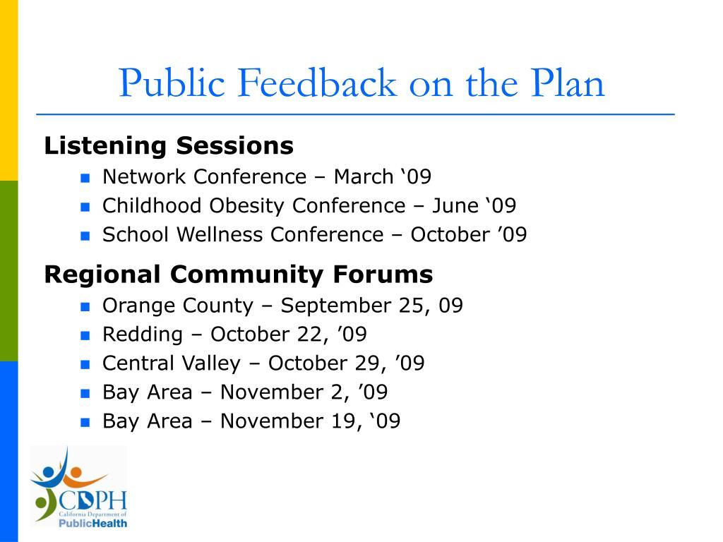 Public Feedback on the Plan