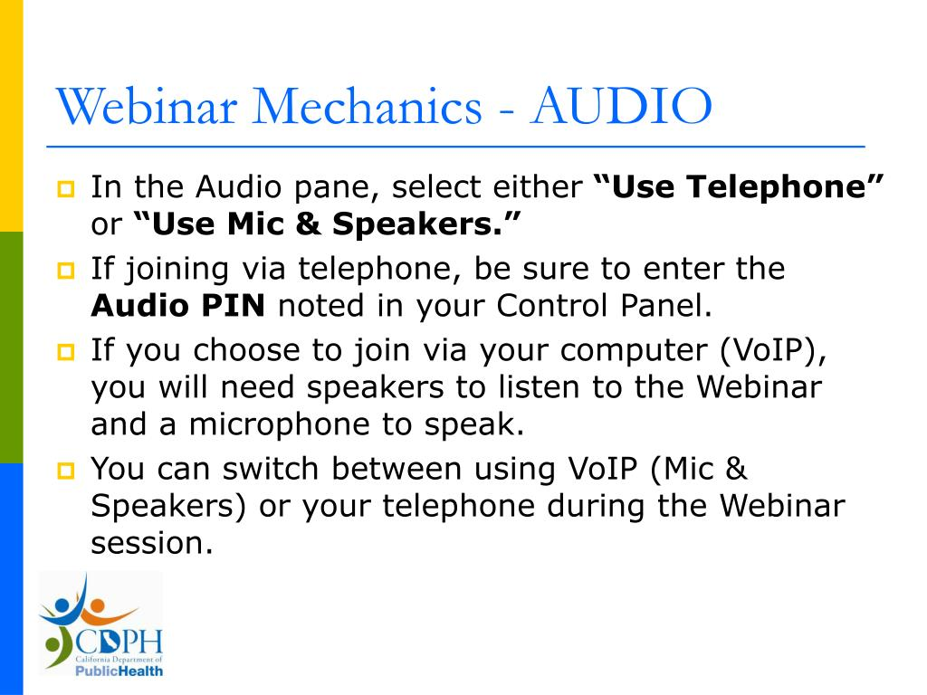 Webinar Mechanics - AUDIO