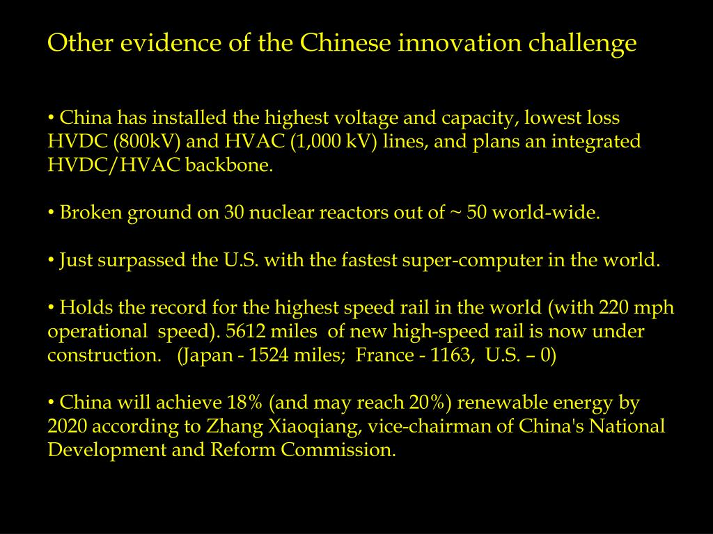 Other evidence of the Chinese innovation challenge
