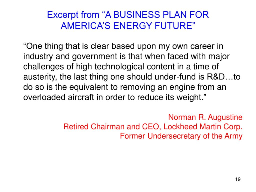 "Excerpt from ""A BUSINESS PLAN FOR AMERICA'S ENERGY FUTURE"""