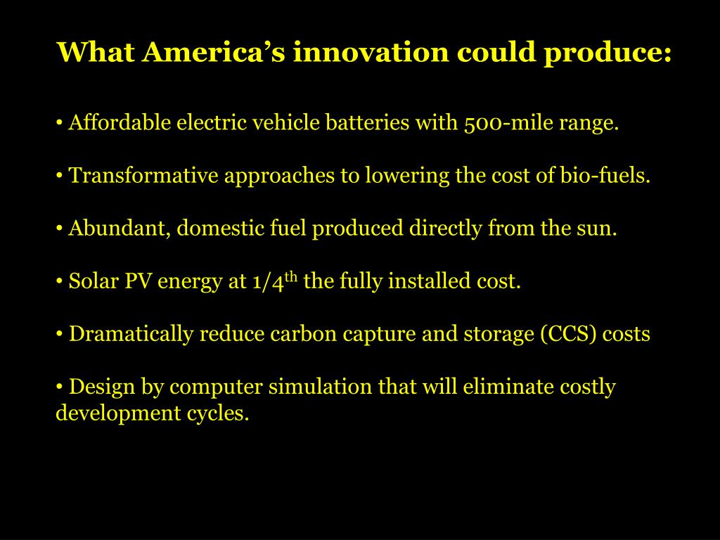 What America's innovation could produce: