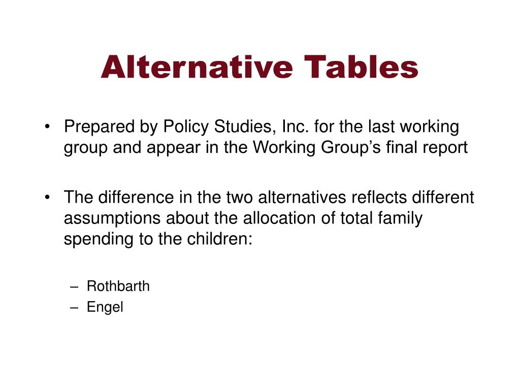 Alternative Tables