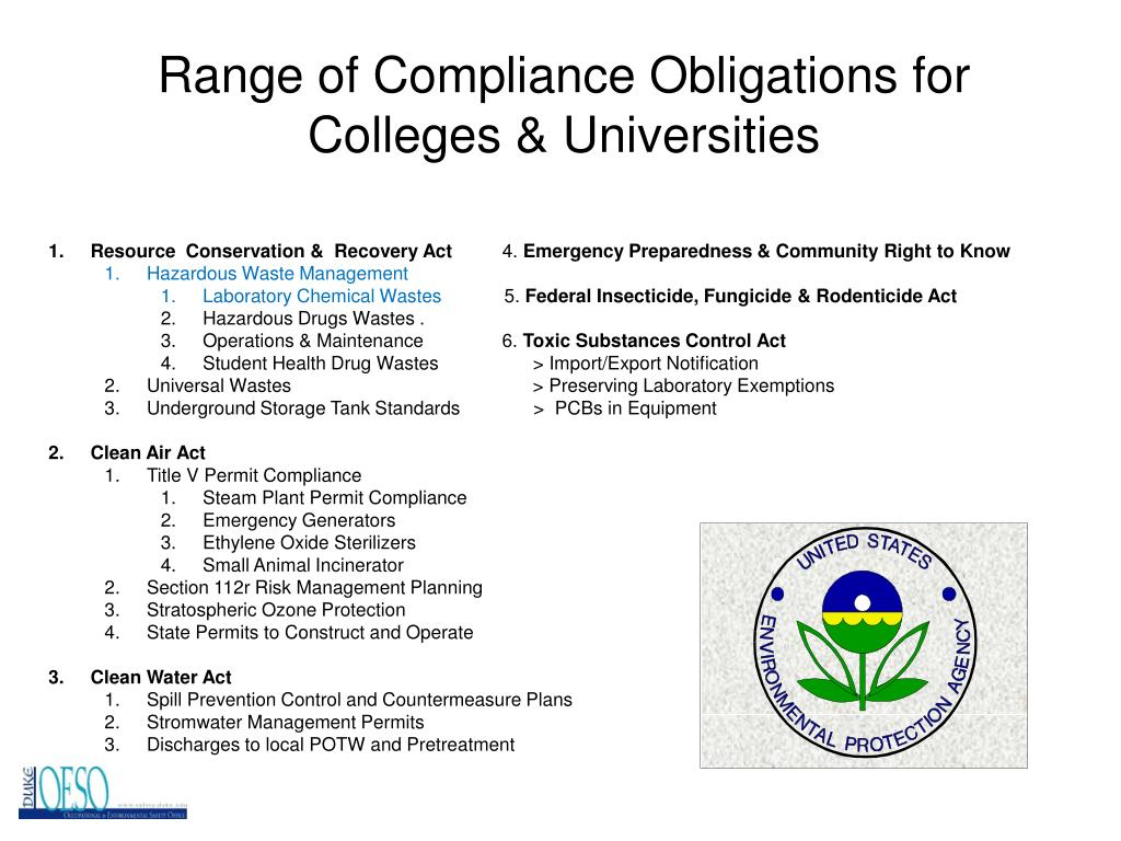 Range of Compliance Obligations for Colleges & Universities